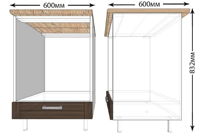 Кухонный шкаф под встраиваемую духовку Лофт ШНД60 фото 1 | интернет-магазин Складно