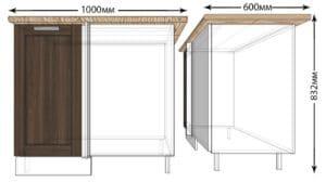 Кухонный шкаф напольный угловой Лофт ШНУ100 фото   интернет-магазин Складно