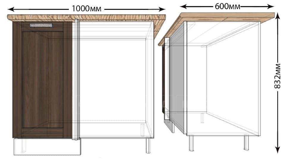 Кухонный шкаф напольный угловой Лофт ШНУ100 фото 1 | интернет-магазин Складно