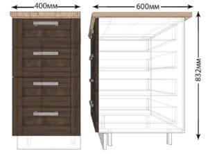 Кухонный шкаф напольный Лофт ШНЯ40 с 4 ящиками фото | интернет-магазин Складно