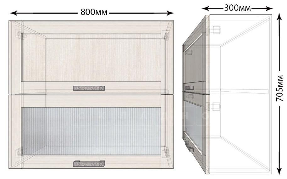 Кухонный навесной шкаф горизонтальный Лофт ШВБ1С80 фото 1   интернет-магазин Складно