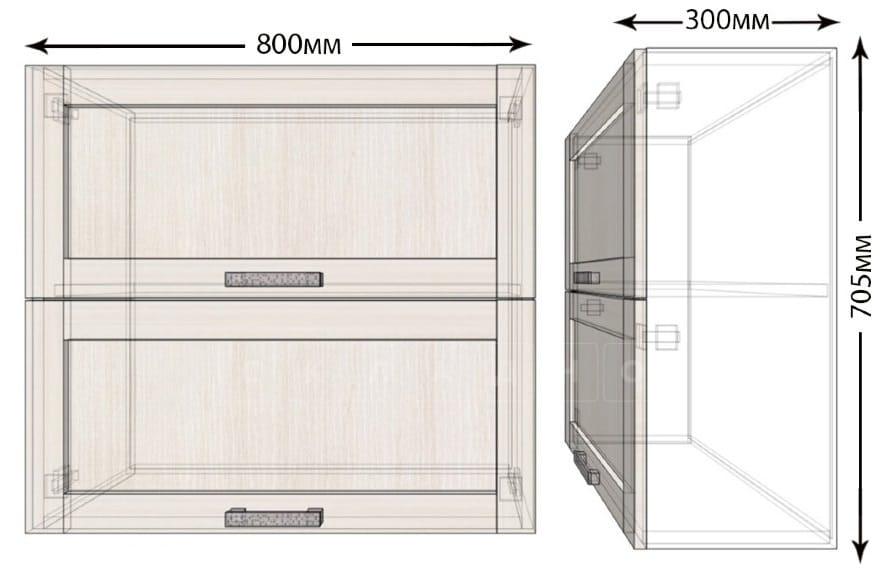 Кухонный навесной шкаф горизонтальный Лофт ШВБ80 фото 1 | интернет-магазин Складно