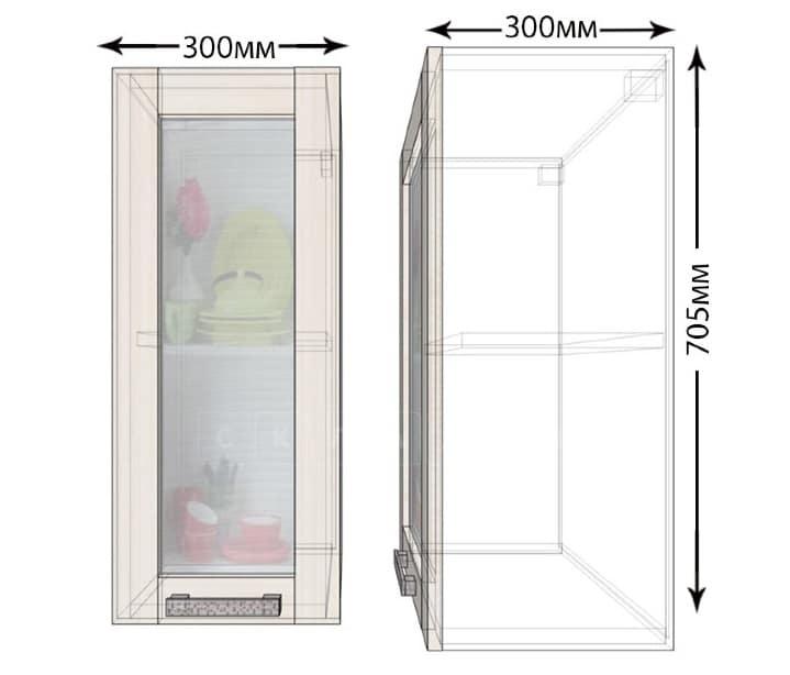 Кухонный навесной шкаф со стеклом Лофт ШВС30 фото 1 | интернет-магазин Складно