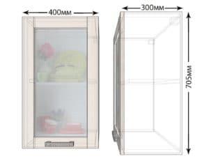 Кухонный навесной шкаф со стеклом Лофт ШВС40 фото | интернет-магазин Складно