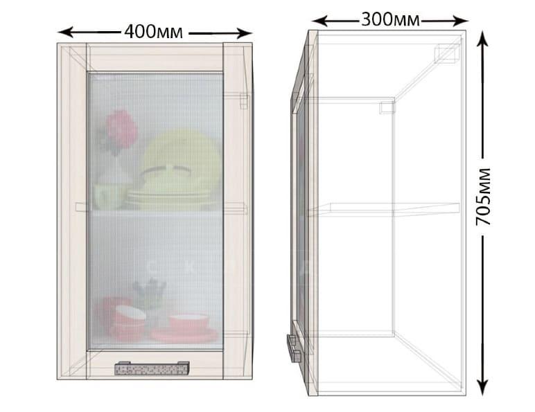 Кухонный навесной шкаф со стеклом Лофт ШВС40 фото 1   интернет-магазин Складно