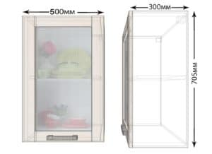 Кухонный навесной шкаф со стеклом Лофт ШВС50 фото | интернет-магазин Складно