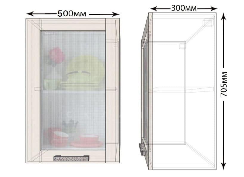 Кухонный навесной шкаф со стеклом Лофт ШВС50 фото 1 | интернет-магазин Складно