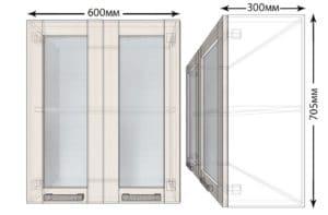 Кухонный навесной шкаф со стеклом Лофт ШВС60  2820  рублей, фото 1 | интернет-магазин Складно