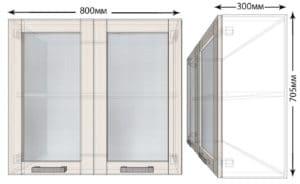 Кухонный навесной шкаф со стеклом Лофт ШВС80  3590  рублей, фото 1 | интернет-магазин Складно