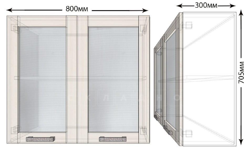 Кухонный навесной шкаф со стеклом Лофт ШВС80 фото 1 | интернет-магазин Складно