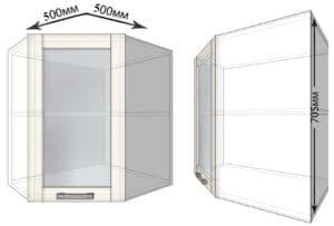 Кухонный навесной шкаф угловой со стеклом Лофт ШВУС50 фото | интернет-магазин Складно