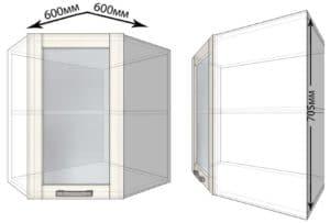 Кухонный навесной шкаф угловой со стеклом Лофт ШВУС60 фото | интернет-магазин Складно