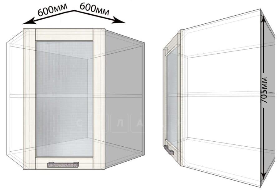 Кухонный навесной шкаф угловой со стеклом Лофт ШВУС60 фото 1 | интернет-магазин Складно