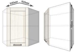 Кухонный навесной шкаф угловой Лофт ШВУ50 фото | интернет-магазин Складно
