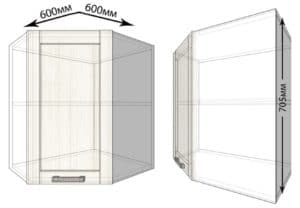 Кухонный навесной шкаф угловой Лофт ШВУ60 фото | интернет-магазин Складно