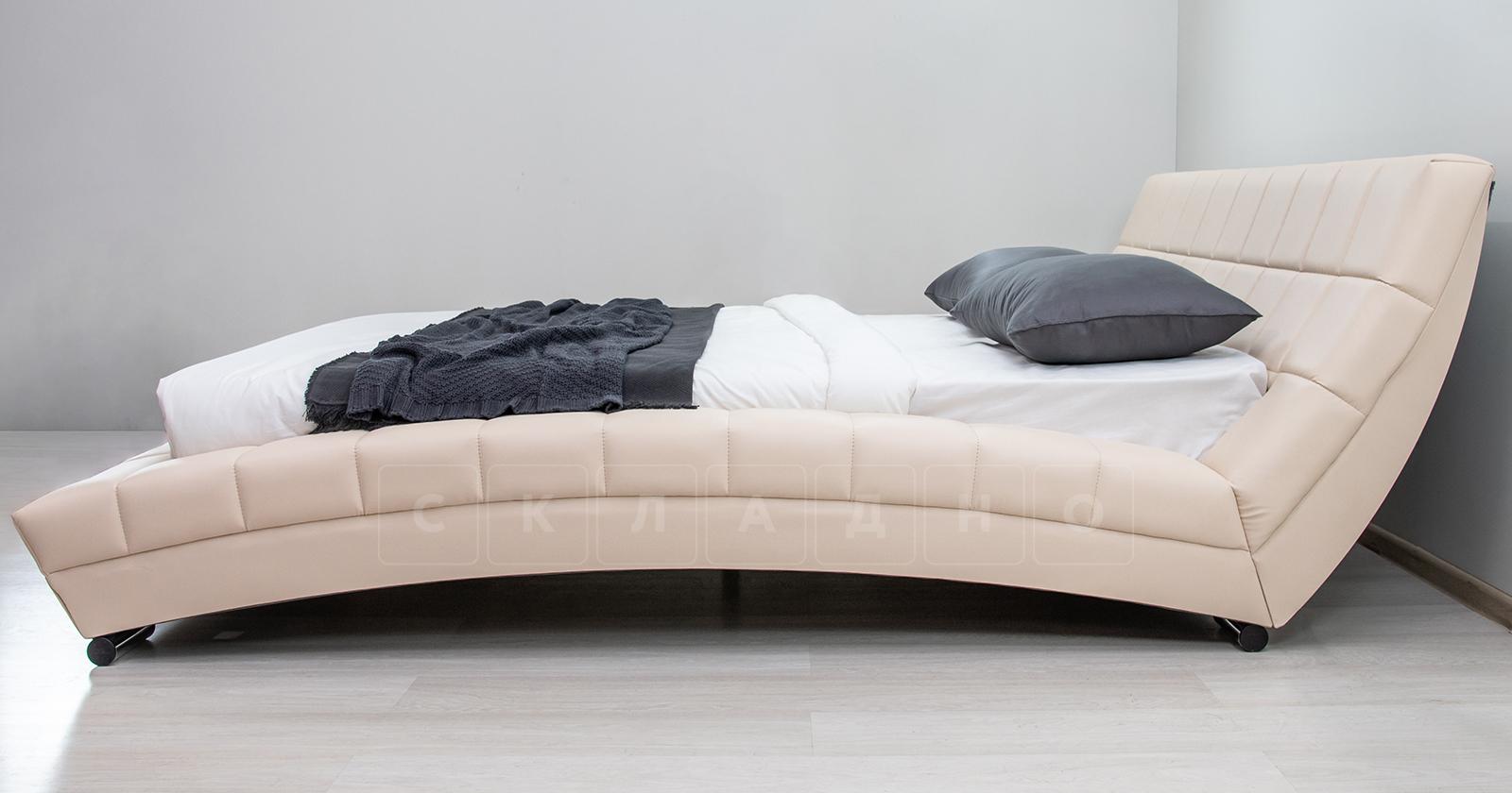 Мягкая кровать Оливия 160 см экокожа бежевый фото 11 | интернет-магазин Складно