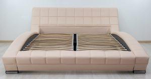 Мягкая кровать Оливия 160 см экокожа бежевый 19990 рублей, фото 3 | интернет-магазин Складно