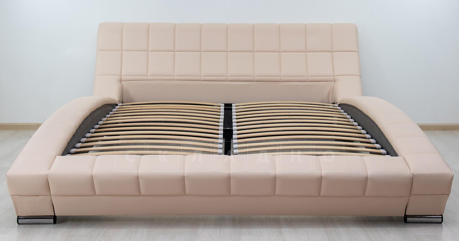 Мягкая кровать Оливия 160 см экокожа бежевый фото 3 | интернет-магазин Складно