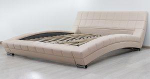 Мягкая кровать Оливия 160 см экокожа бежевый 19990 рублей, фото 4 | интернет-магазин Складно