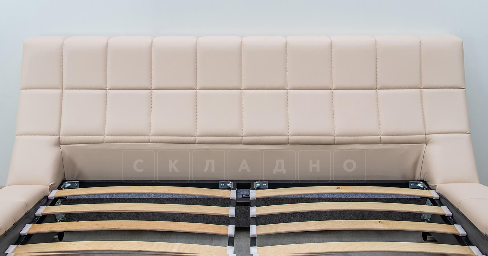 Мягкая кровать Оливия 160 см экокожа бежевый фото 6 | интернет-магазин Складно