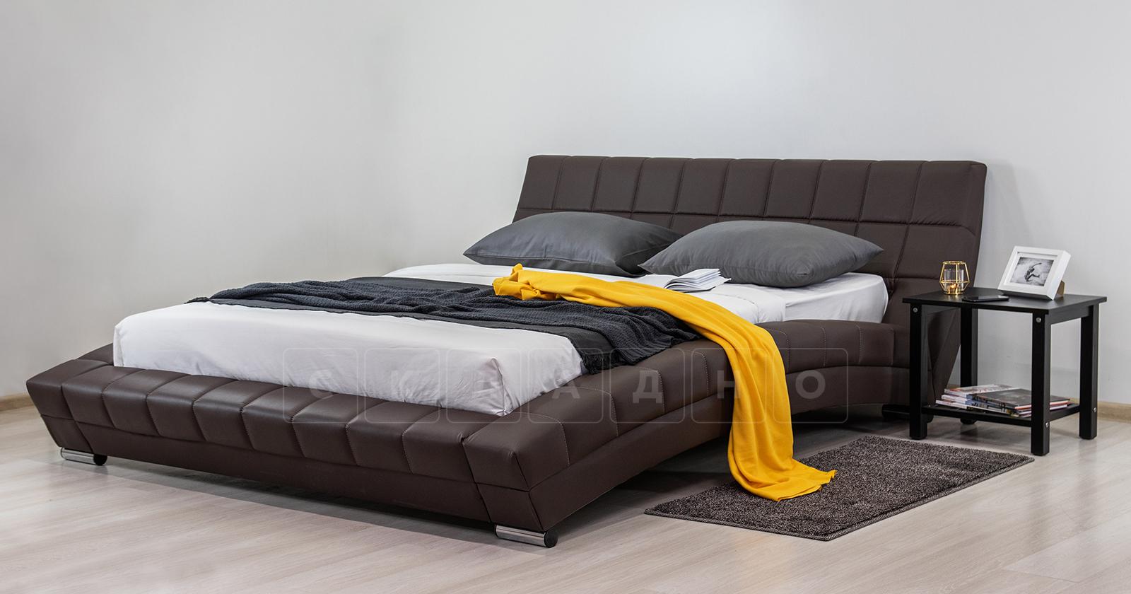 Мягкая кровать Оливия 160 см экокожа шоколад фото 10 | интернет-магазин Складно