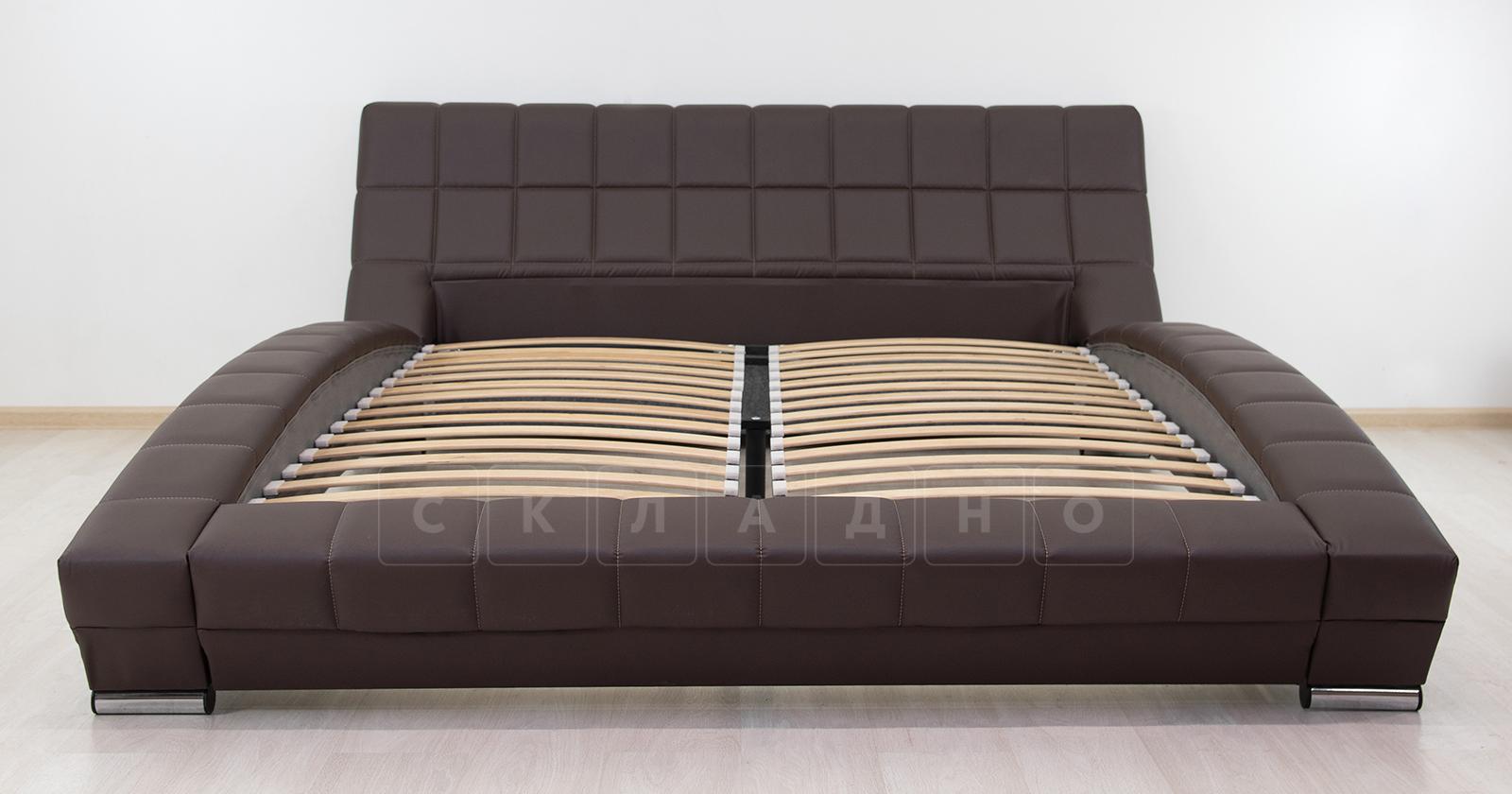 Мягкая кровать Оливия 160 см экокожа шоколад фото 11 | интернет-магазин Складно