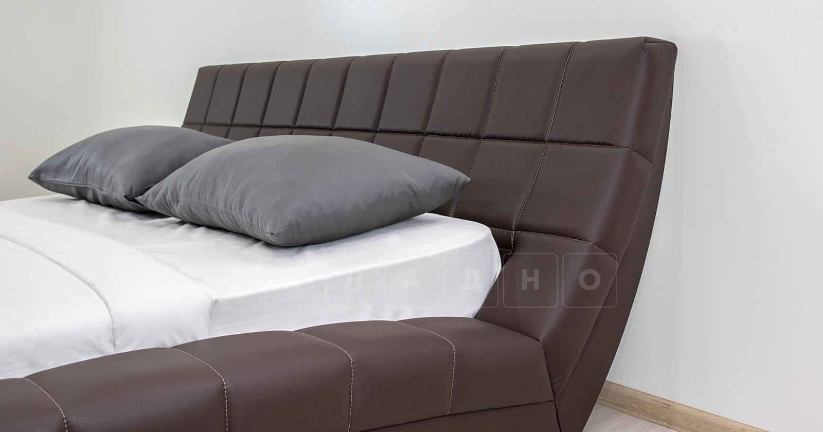 Мягкая кровать Оливия 160 см экокожа шоколад фото 7 | интернет-магазин Складно
