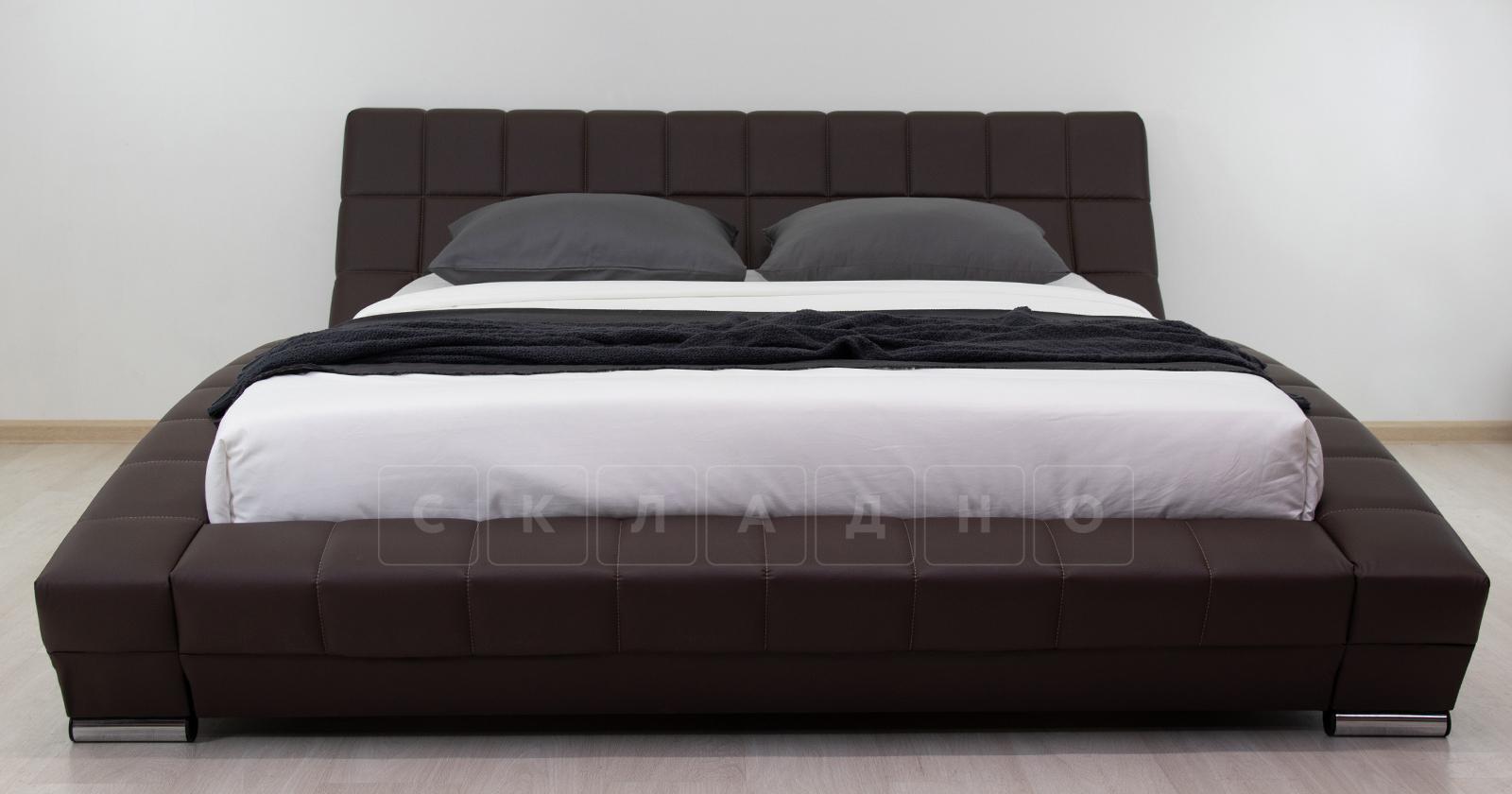 Мягкая кровать Оливия 160 см экокожа шоколад фото 3 | интернет-магазин Складно