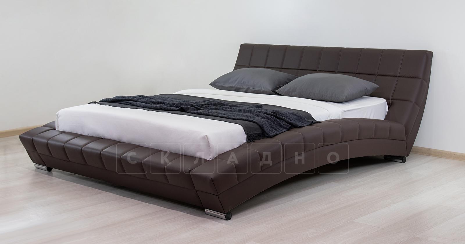 Мягкая кровать Оливия 160 см экокожа шоколад фото 4 | интернет-магазин Складно