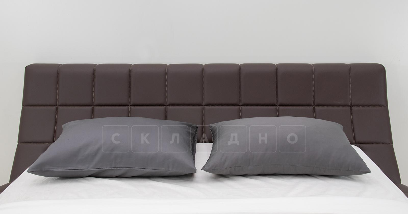 Мягкая кровать Оливия 160 см экокожа шоколад фото 5 | интернет-магазин Складно