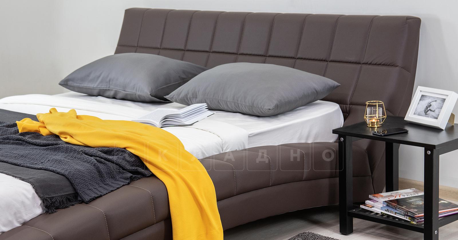 Мягкая кровать Оливия 160 см экокожа шоколад фото 9 | интернет-магазин Складно