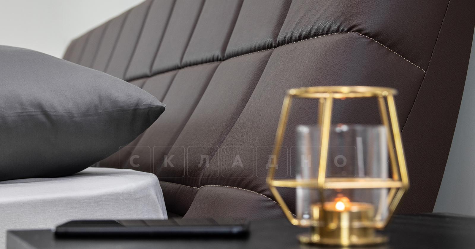 Мягкая кровать Оливия 160 см экокожа шоколад фото 8 | интернет-магазин Складно