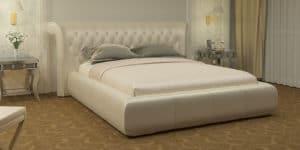 Мягкая кровать Вирджиния 160см экокожа перламутрового цвета-8336 фото | интернет-магазин Складно
