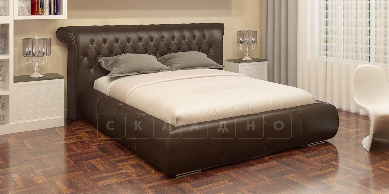 Мягкая кровать Вирджиния 160см экокожа шоколадного цвета фото 1   интернет-магазин Складно