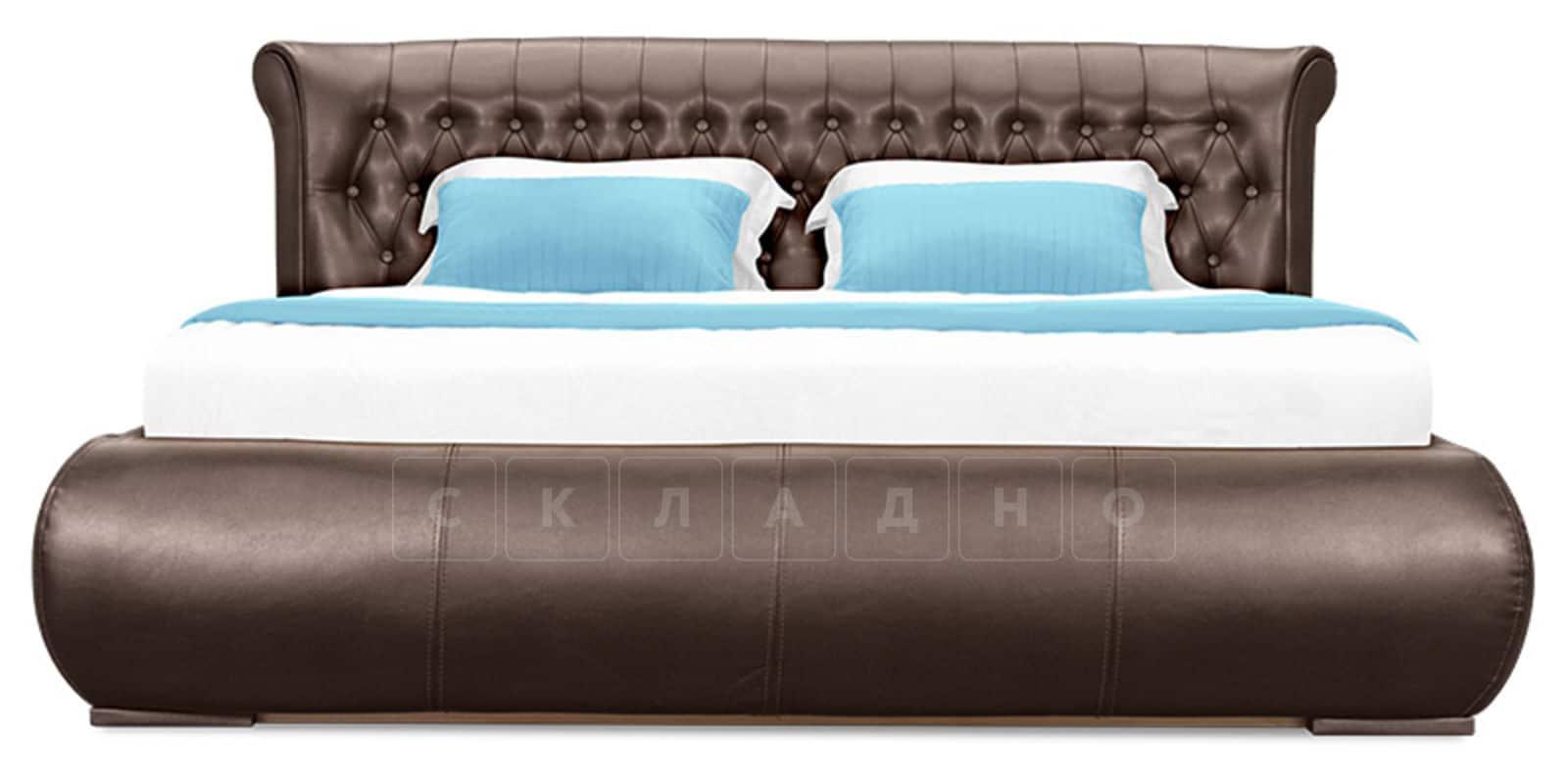 Мягкая кровать Вирджиния 160см экокожа шоколадного цвета фото 2 | интернет-магазин Складно