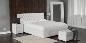 Мягкая кровать Малибу 160см экокожа белого цвета вариант 4-8332 фото | интернет-магазин Складно