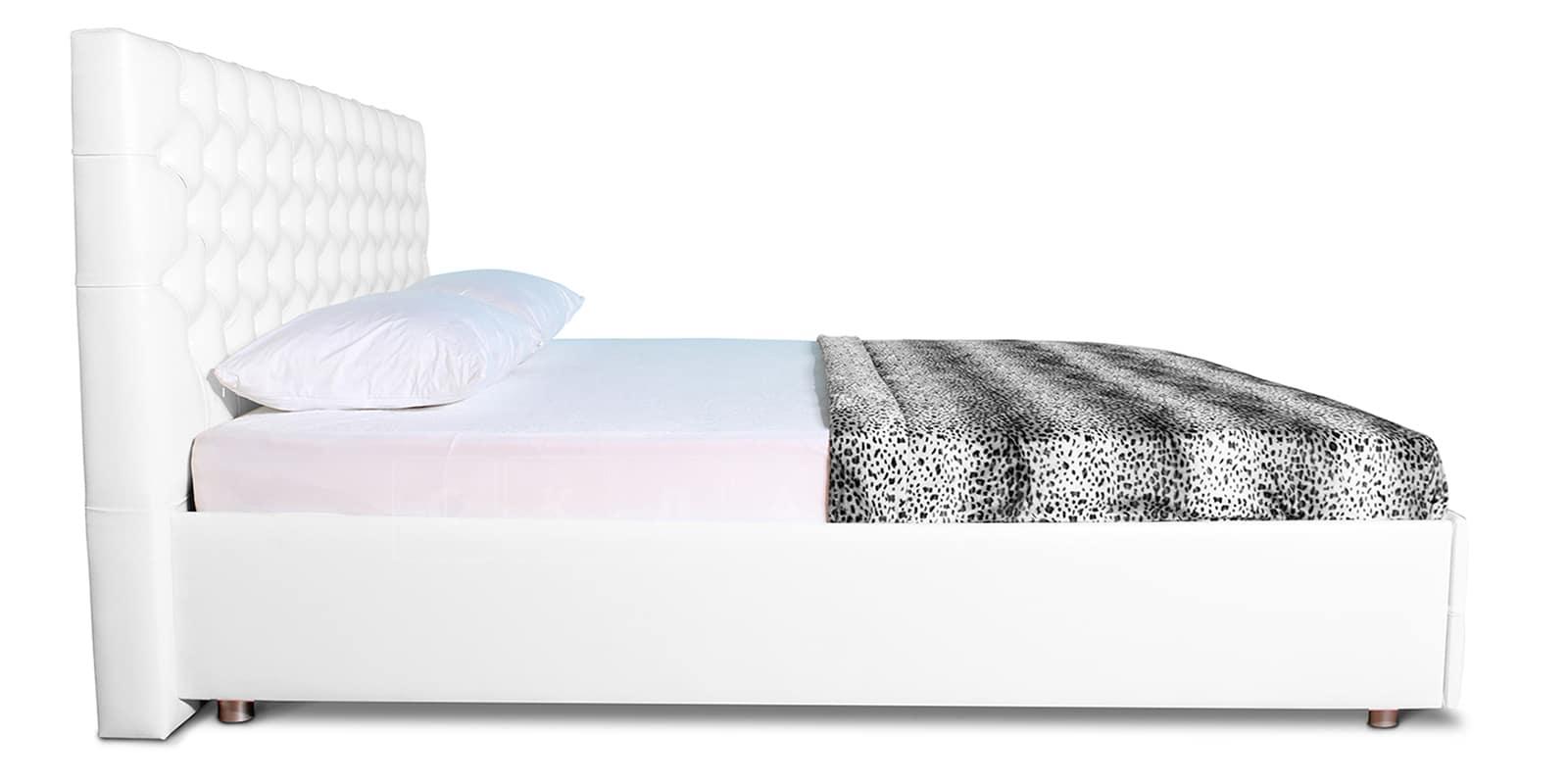 Мягкая кровать Малибу 160см экокожа белого цвета вариант 4 фото 4   интернет-магазин Складно