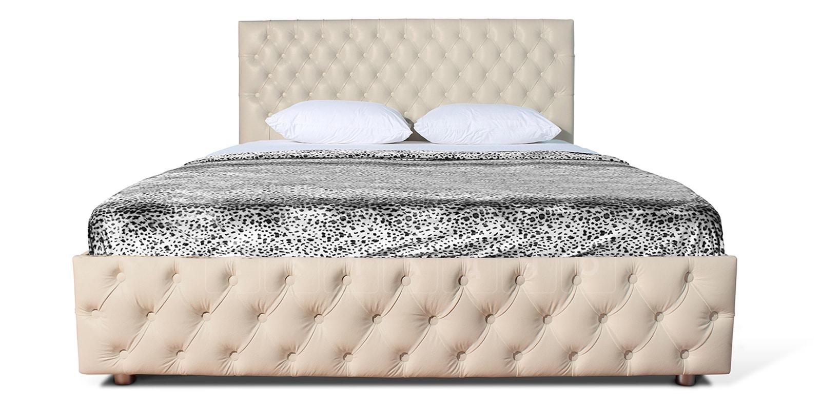 Мягкая кровать Малибу 160см экокожа бежевого цвета вариант 4-2 фото 2 | интернет-магазин Складно