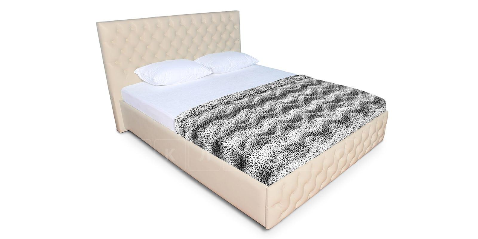 Мягкая кровать Малибу 160см экокожа бежевого цвета вариант 4-2 фото 3 | интернет-магазин Складно