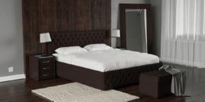 Мягкая кровать Малибу 160см экокожа шоколадного цвета вариант 4-8334 фото | интернет-магазин Складно