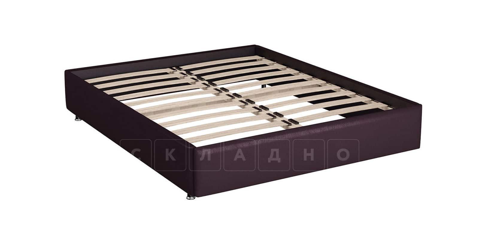 Мягкая кровать Малибу 160см экокожа бежевый-шоколад вариант 8-2 фото 5 | интернет-магазин Складно