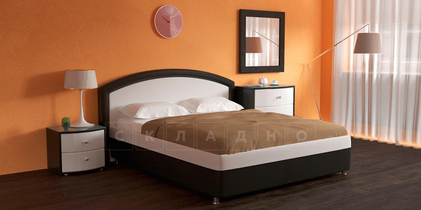 Мягкая кровать Малибу 160см экокожа белый-шоколад вариант 8-2 фото 2   интернет-магазин Складно