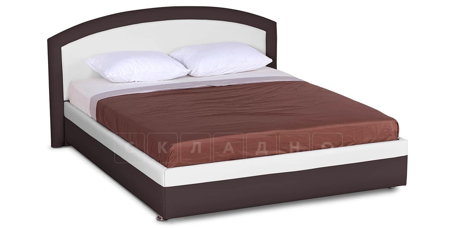 Мягкая кровать Малибу 160см экокожа белый-шоколад вариант 8-2 фото 1   интернет-магазин Складно