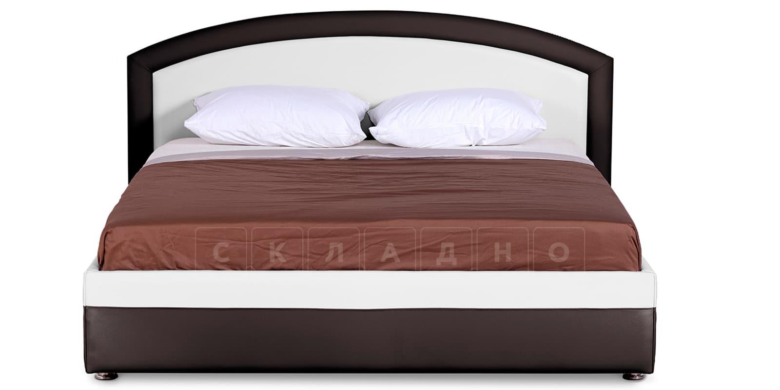 Мягкая кровать Малибу 160см экокожа белый-шоколад вариант 8-2 фото 3   интернет-магазин Складно