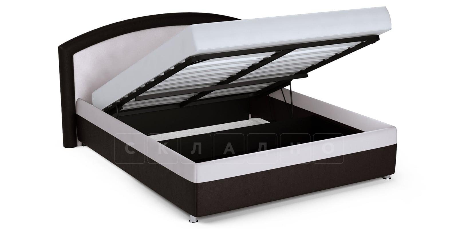 Мягкая кровать Малибу 160см экокожа белый-шоколад вариант 8 фото 5   интернет-магазин Складно