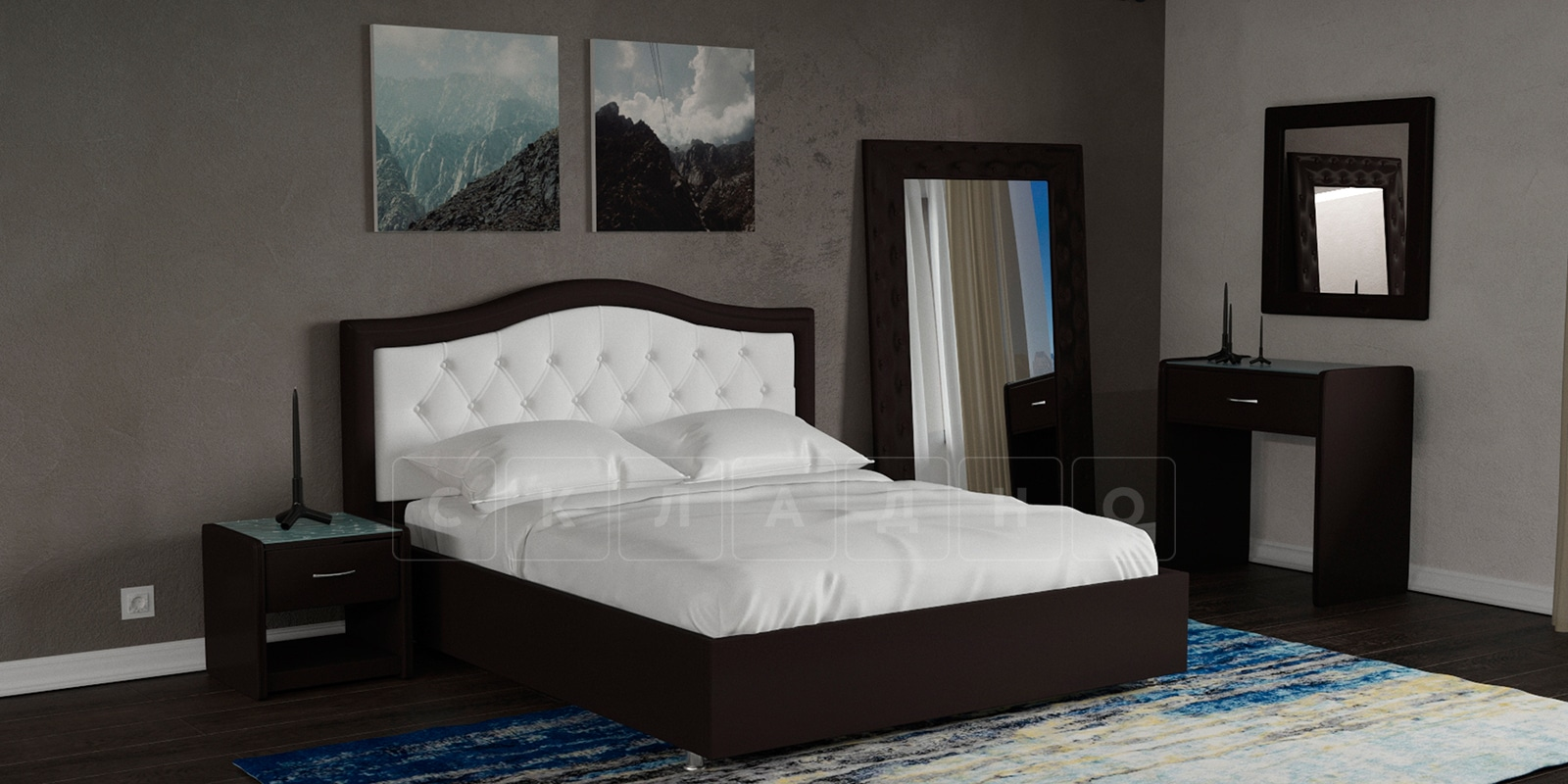 Мягкая кровать Малибу 160см экокожа белый-шоколад вариант 9-2 фото 7 | интернет-магазин Складно