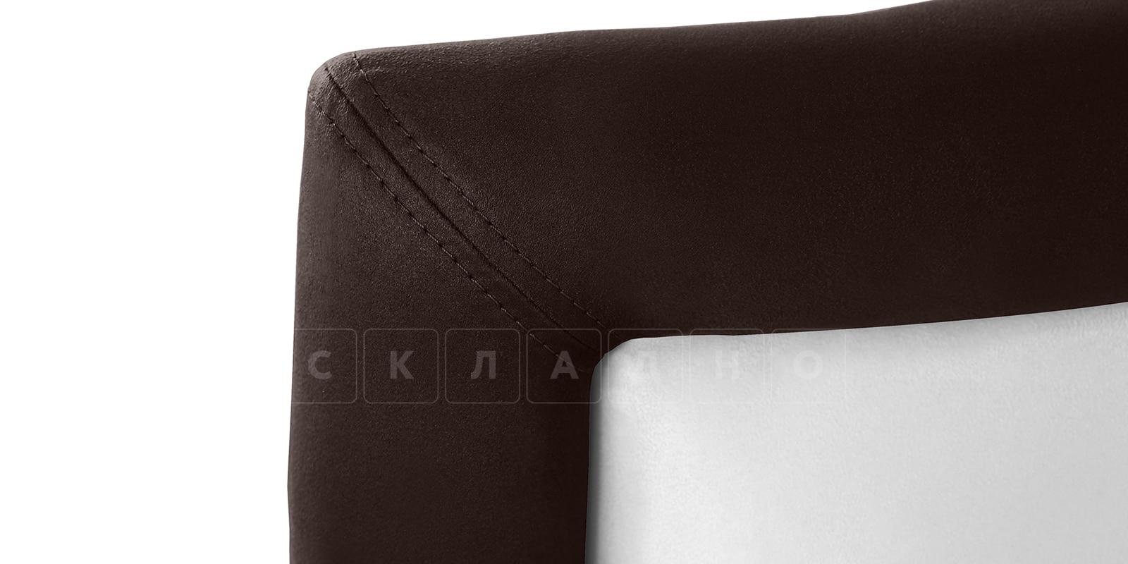 Мягкая кровать Малибу 160см экокожа белый-шоколад вариант 9-2 фото 4 | интернет-магазин Складно