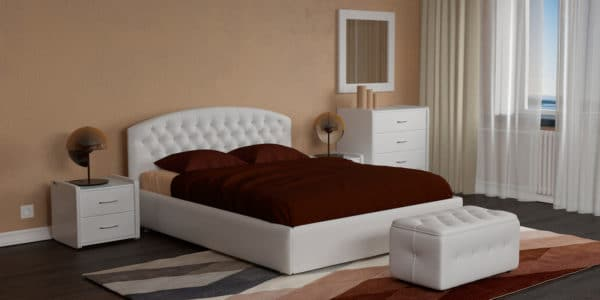 Мягкая кровать Малибу 160см экокожа белого цвета вариант 1-2 фото | интернет-магазин Складно