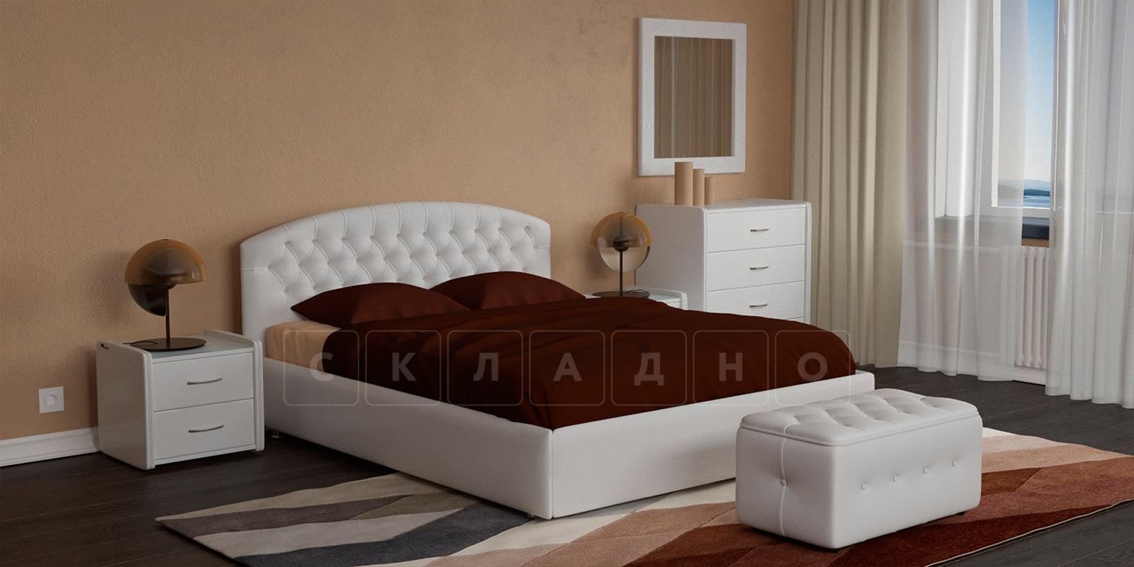 Мягкая кровать Малибу 160см экокожа белого цвета вариант 1-2 фото 1 | интернет-магазин Складно