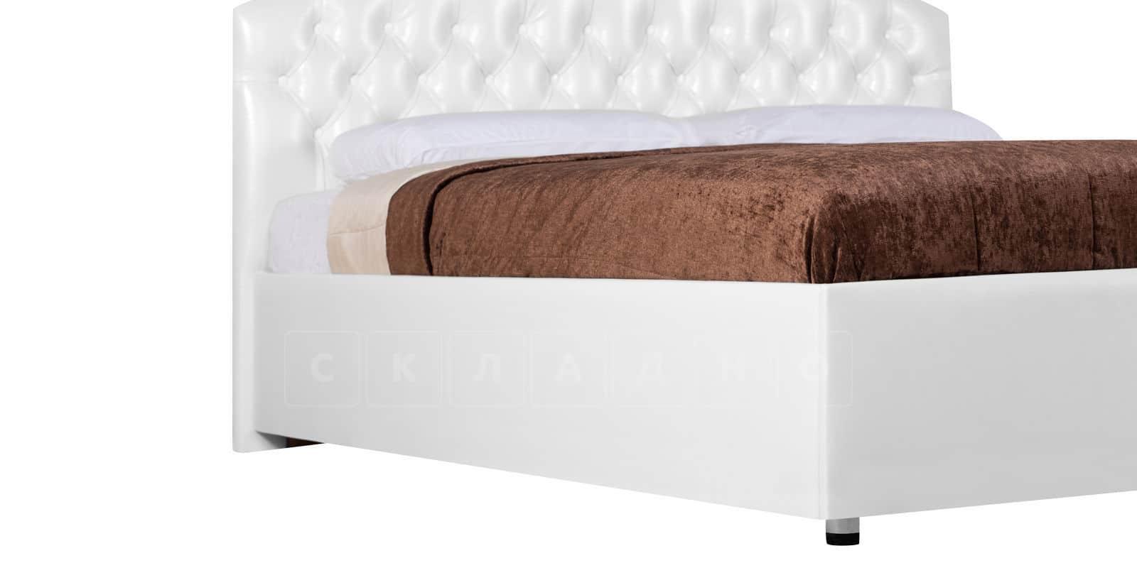 Мягкая кровать Малибу 160см экокожа белого цвета вариант 1-2 фото 4 | интернет-магазин Складно